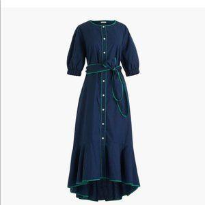 J. Crew Tipped Cotton Poplin Dress NWT
